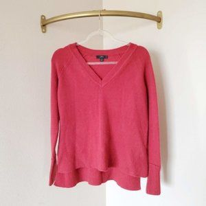 J.Crew Red Merino Wool V-Neck Sweater Holiday 18 S